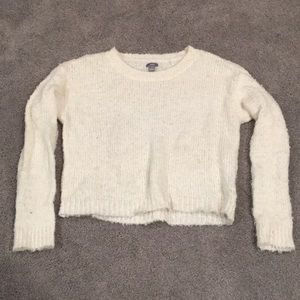 White fluffy Aerie sweater
